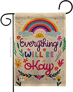 Everything Be Okay Burlap Garden Flag - Expression Inspirational Spiritual Hope Love Wisdom Support Emotion Postive - House Decoration Banner Small Yard Gift Double-Sided Made In USA 13 X 18.5