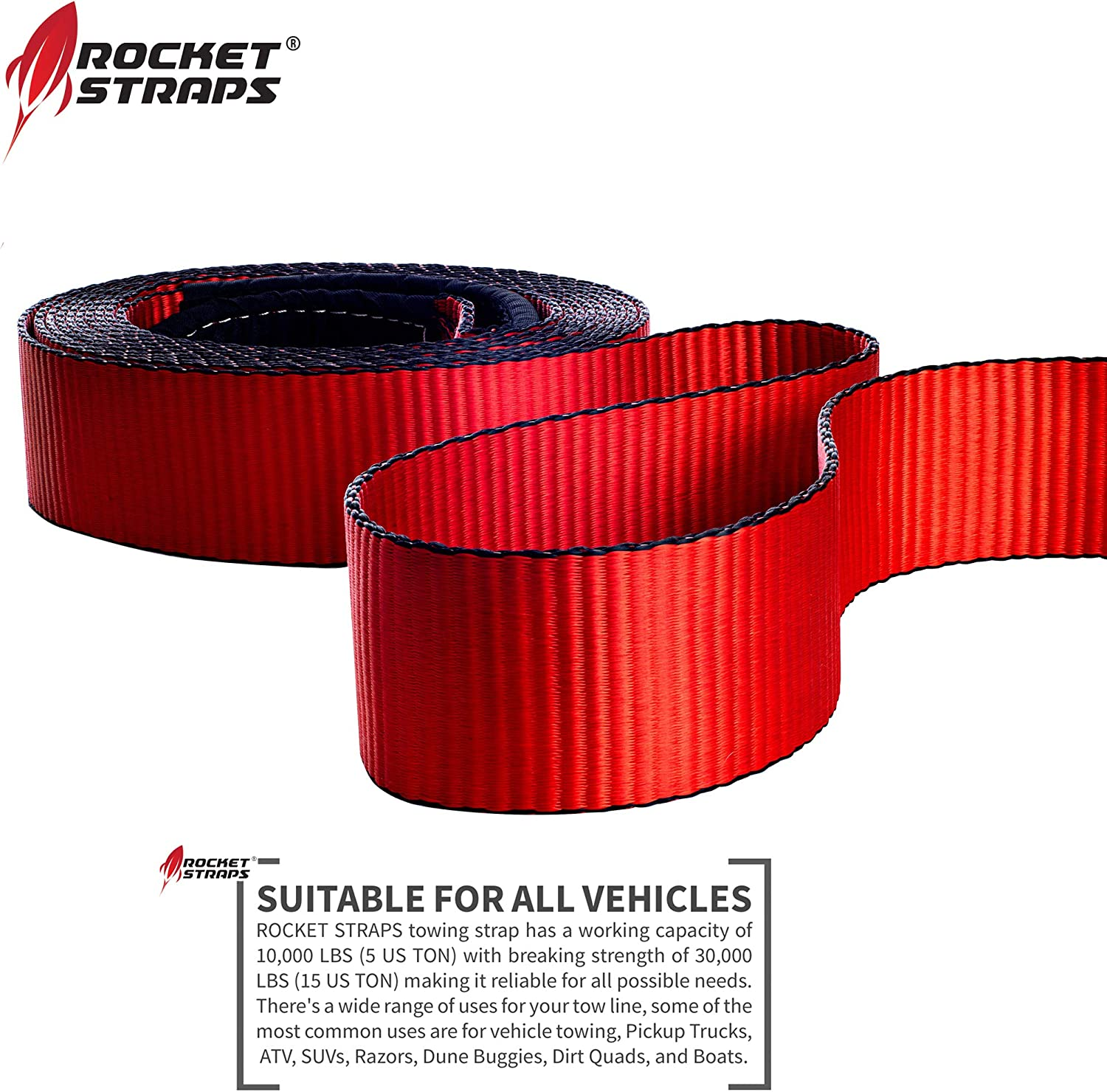 """2 x 2,25/"""" Off Road Shackle Heavy Duty Truck Buggy Winch Tow Bar Strap Hook Red"""