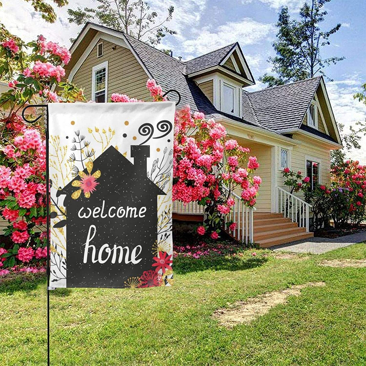 Welcome Home Garden Flags 12.5x18 inches Simple Flower Cottage Spring House Flags Home Outside Decoration Banners Courtyard