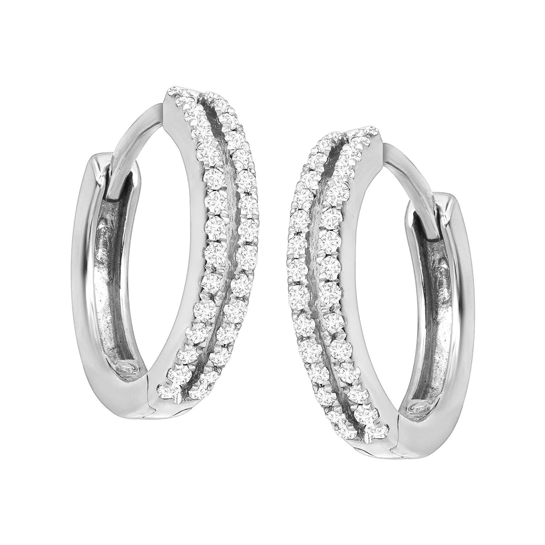 1 4 ct Diamond Huggie Hoop Earrings in Sterling Silver