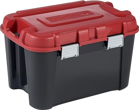 Allibert 229195 Totem - Caja de Almacenamiento, de plástico, 59,6 x 39,5 x 37, 60 l, Negra y roja: Amazon.es: Hogar