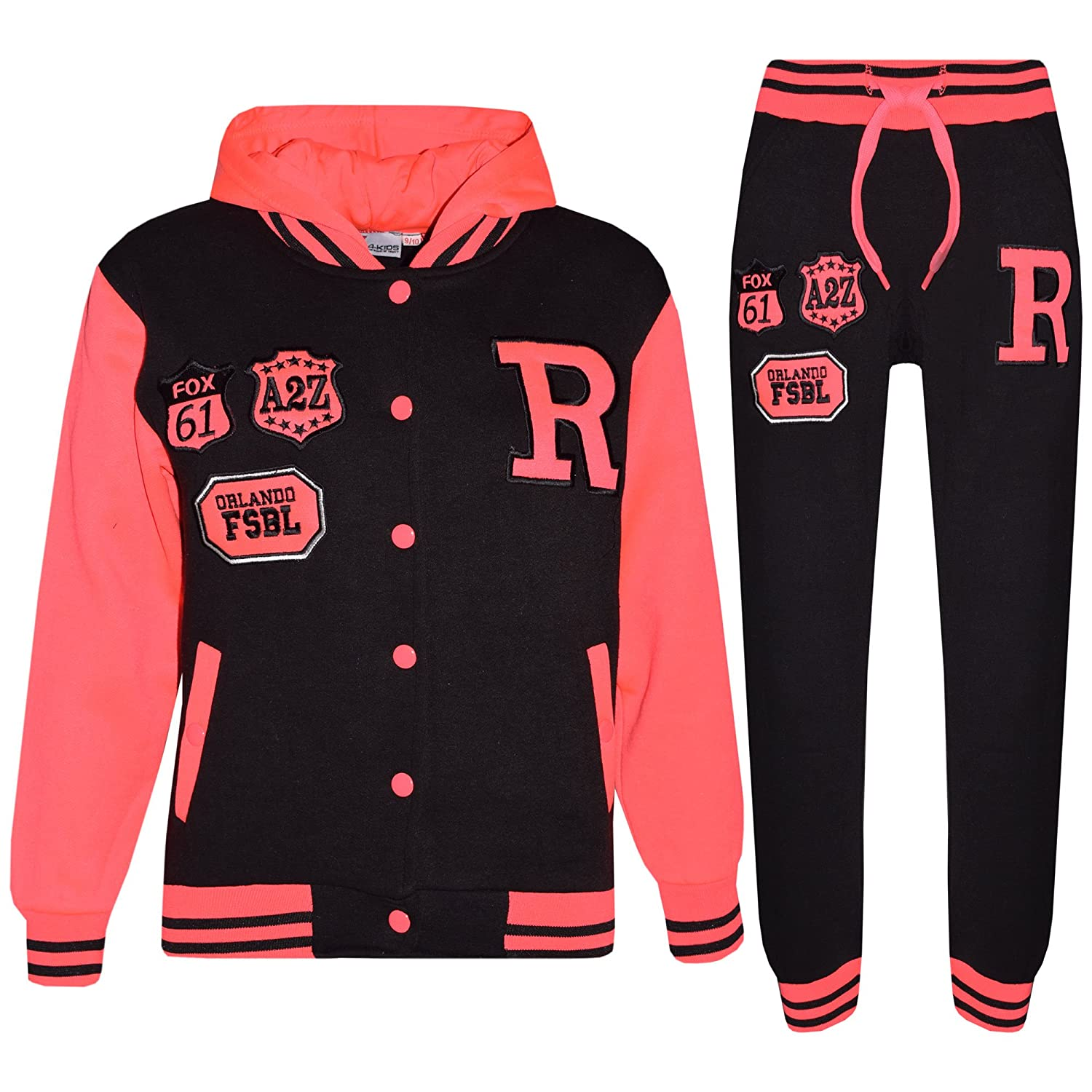 Kids Girls Boys Baseball Tracksuit - Fox Black & Neon Pink - 9-10 Years