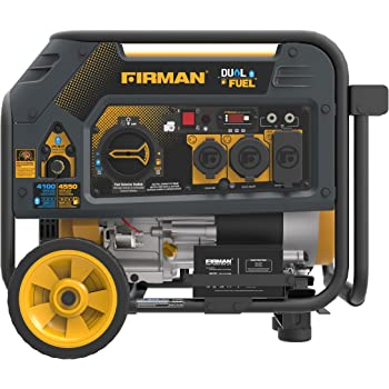Firman H03651 4550/3650 Watt Dual Fuel Electric Start Generator, cETL, CARB, Yellow