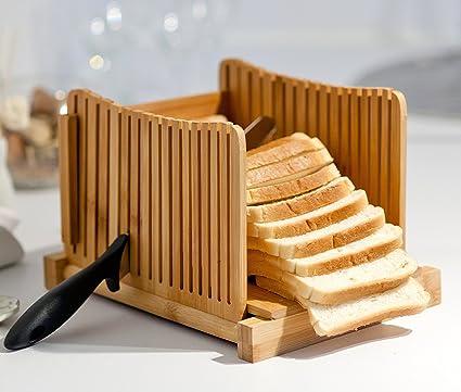 Kenley - Cortador de pan de bambú para pasteles caseros, compacto, ajustable, plegable, cortador con tabla de cortar y guía para cortar cuchillos – ...