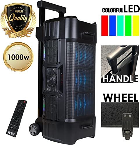 EMB EBZ120 PK1 1000W Power LED Party Bluetooth USB SD Stereo Rechargeable Portable Speaker – Perfect for Beach Home Birthday DJ Party Camp Jobsite Construction Industrial