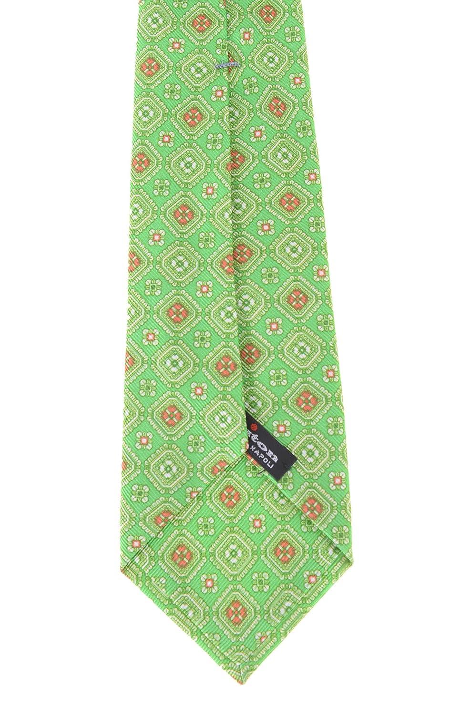 Kiton Napoli Mens Green /& Red Geometric Motif Seven Fold Handmade Silk Necktie