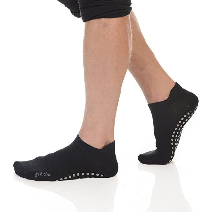 Great Soles Mens Pilates Yoga Tabbed Grip Sock (Black, M/L ...