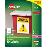 "Avery Durable White Cover Up ID Labels for Laser Printers, 8.5"" x 11"", Pack of 50 (6575)"