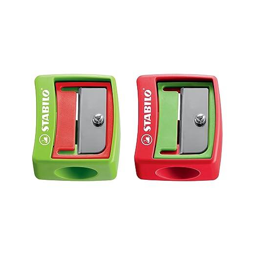 Spitzer - STABILO woody 3 in 1 Spitzer- für extradicke Stifte - 2er Pack - grün/rot, rot/grün