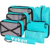 Veken 7 Set Packing Cubes, Travel Organizers Accessories with Laundry Bag & Shoe Bag