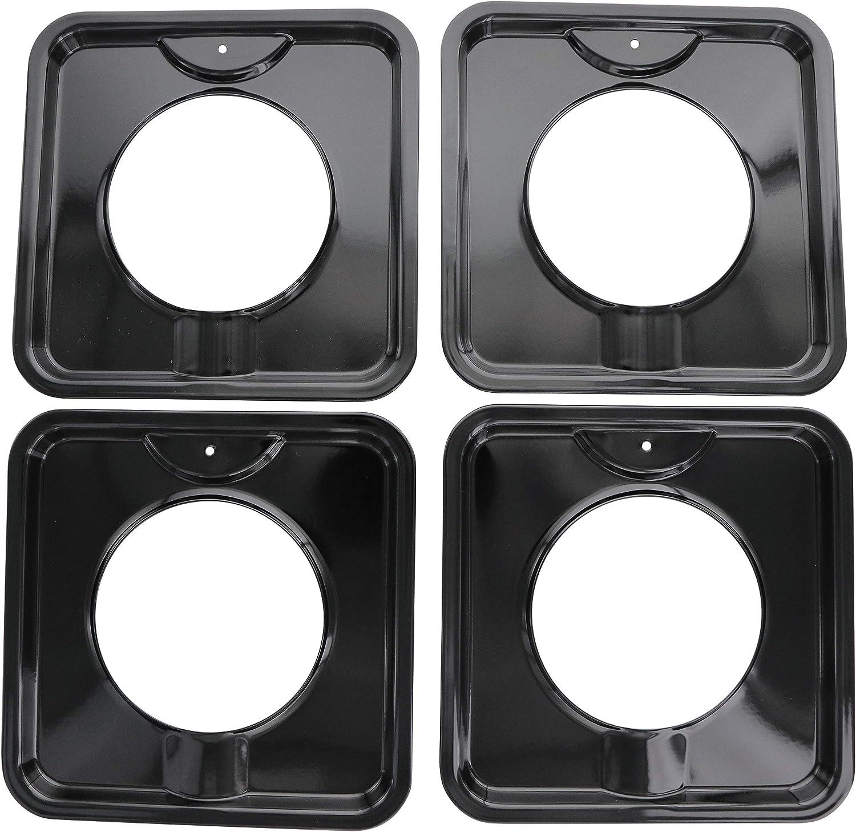 "KITCHEN BASICS 101 SGP-400 Replacement Porcelain 7.75"" Square Gas Range Pans for WP786333, AP6011553 and PS11744751-4 Pack"