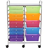 Finnhomy 15-Drawer Rolling Cart,Storage Rolling Carts with Semi-transparent Mutli Color Drawers, Organizer Cart for School, Office, Home, Beauty Salon,Utility Cart with Wheels