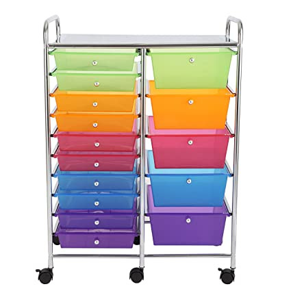 Finnhomy 15 Drawer Rolling Cart,Storage Rolling Carts With Semi Transparent  Mutli Color