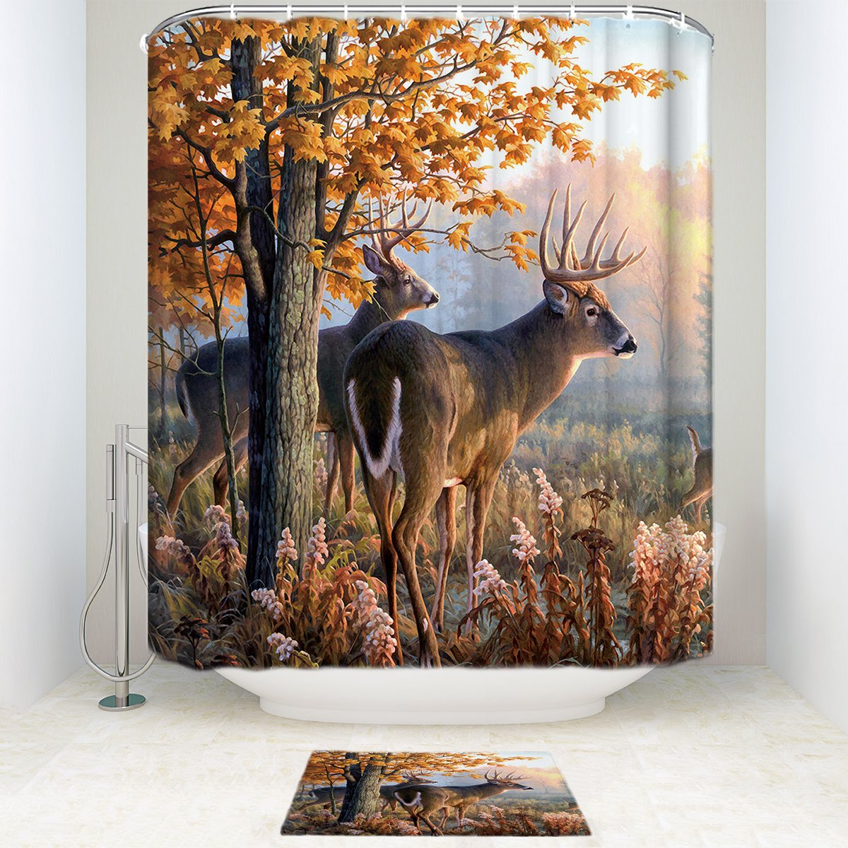 Custom Autumn Nature Wildlife Animal Deers Hunting Non-slip Printed Bathroom Mat, Fabric Bathroom Shower Curtain With Rug Mat 12 Hooks Set of 2 Items