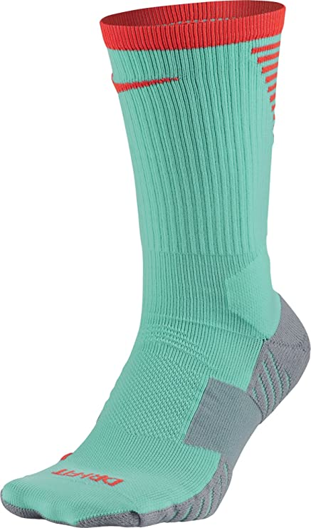 Nike Stadium Football Crew Hyper Turquoise/Total Crimson/Total Crimson Crew Cut Socks Shoes