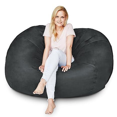 Amazon.com: Puff silla de 5 pies y rojo funda de microante ...