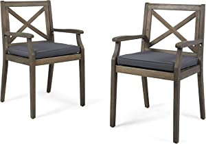 Christopher Knight Home 304681 Peter | Outdoor Acacia Wood Dining Chair with Cushion | Set of 2 Grey