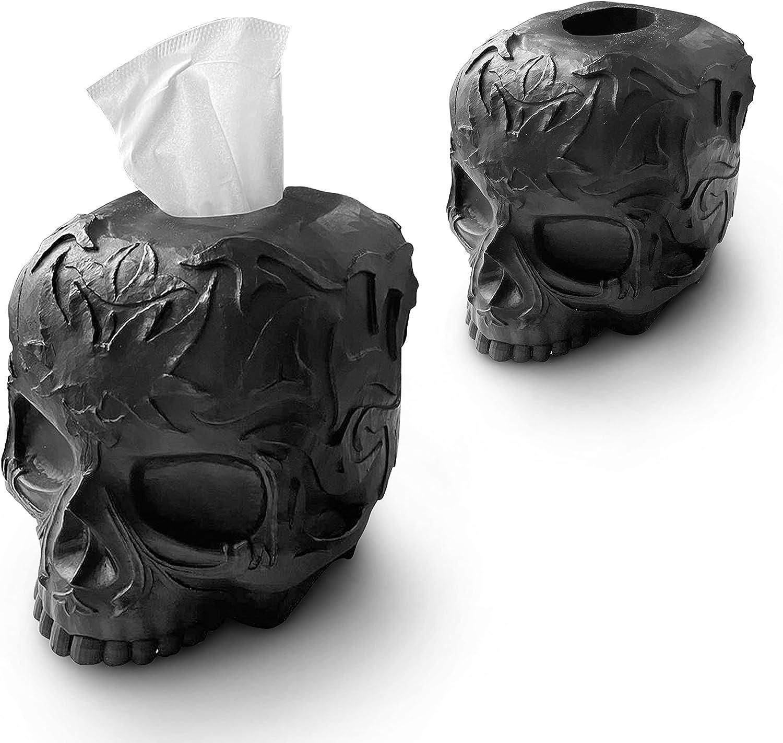 Tissue Box Cover Skull Gothic for Countertop, Modern, Vanity, Dresser, Organizer, Black, Decor, Gift
