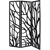 MyGift Wood Tree Silhouette 3 Panel Screen, Decorative Room Divider, Black