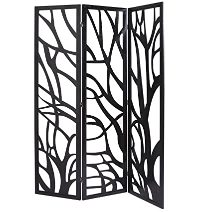 Amazoncom MyGift Wood Tree Silhouette 3 Panel Screen Decorative