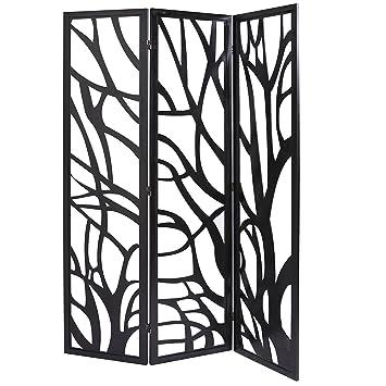 Mygift Wood Tree Silhouette 3 Panel Screen Decorative Room Divider Black