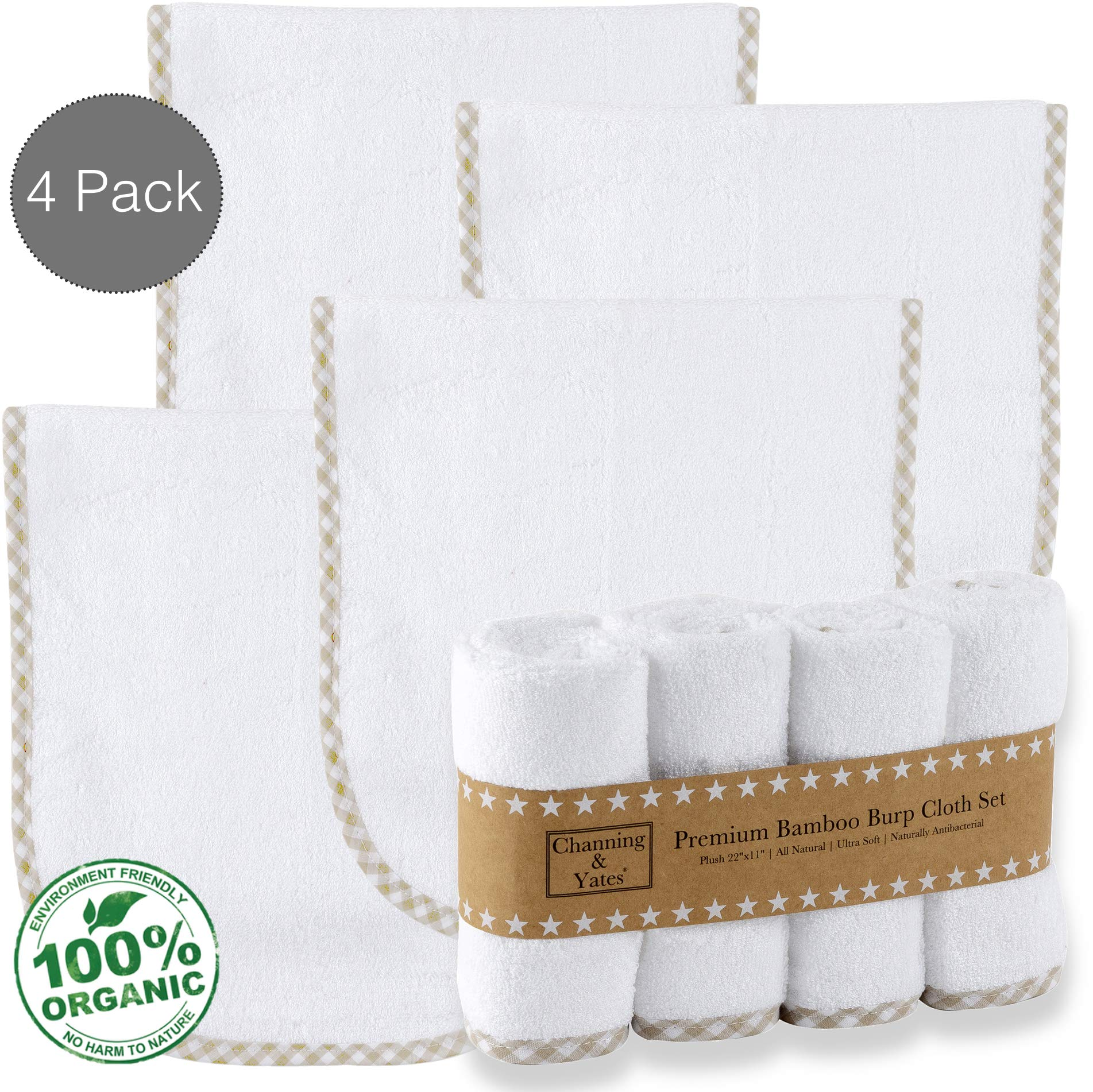 Premium Certified Organic Bamboo Baby Burp Cloths Boy or Girl (4-Pack) by Channing & Yates - Baby Burp Cloths For Eczema - Face Washcloths - Thick & Soft - 22 x 11in - Boutique Baby Must Haves (Beige) by Channing & Yates