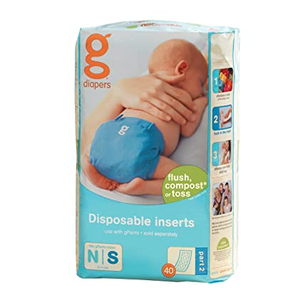 gDiapers Pañales Desechables / Disposable Inserts - Newborn/Small N/S - 40 piezas