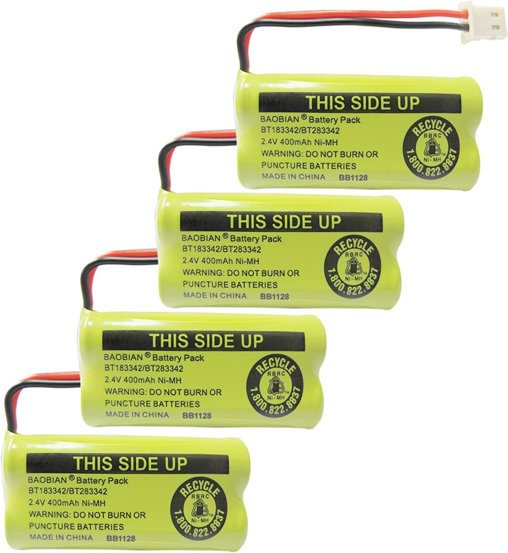 B071H6SF1Q BAOBIAN 2.4V 400mAh Cordless Home Phone Battery Compatible with AT&T BT162342 BT-162342 BT166342 BT-166342 BT266342 BT-266342 BT183342 BT-183342 BT283342 BT-283342 VTech CS6329 CS6114 CS6419(4 Pack) 81y1n9kS07L