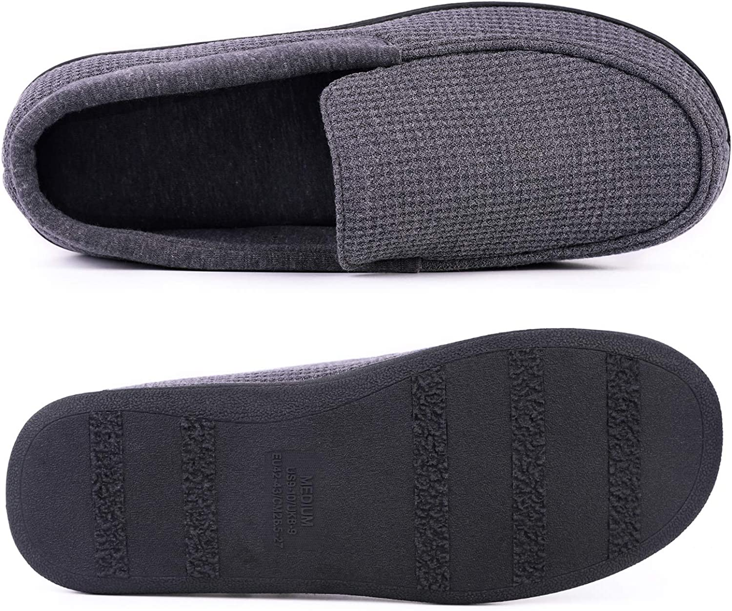 HomeTop Mens Comfort Memory Foam Moccasin Slippers Breathable Cotton Knit House Shoes w//Anti-Skid Rubber Sole