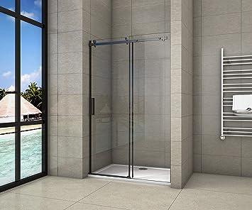 AICA - Puerta corredera de ducha de 200 cm, perfil negro mate ...