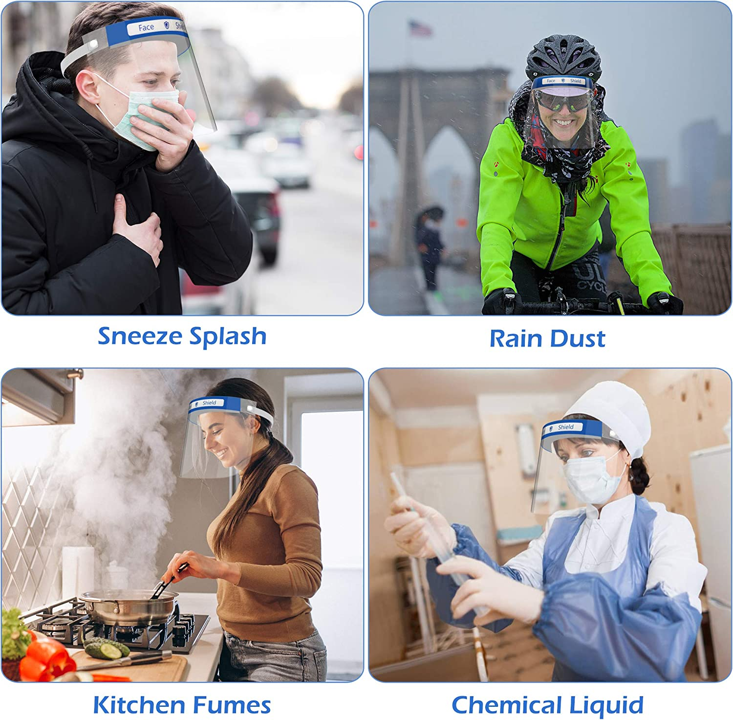 Expedited Shipping Safety Transparent Full Face Shield Protect Eyes and Face Anti Fog Anti-Saliva Windproof Dustproof 15 Packs Reusable Face Shield
