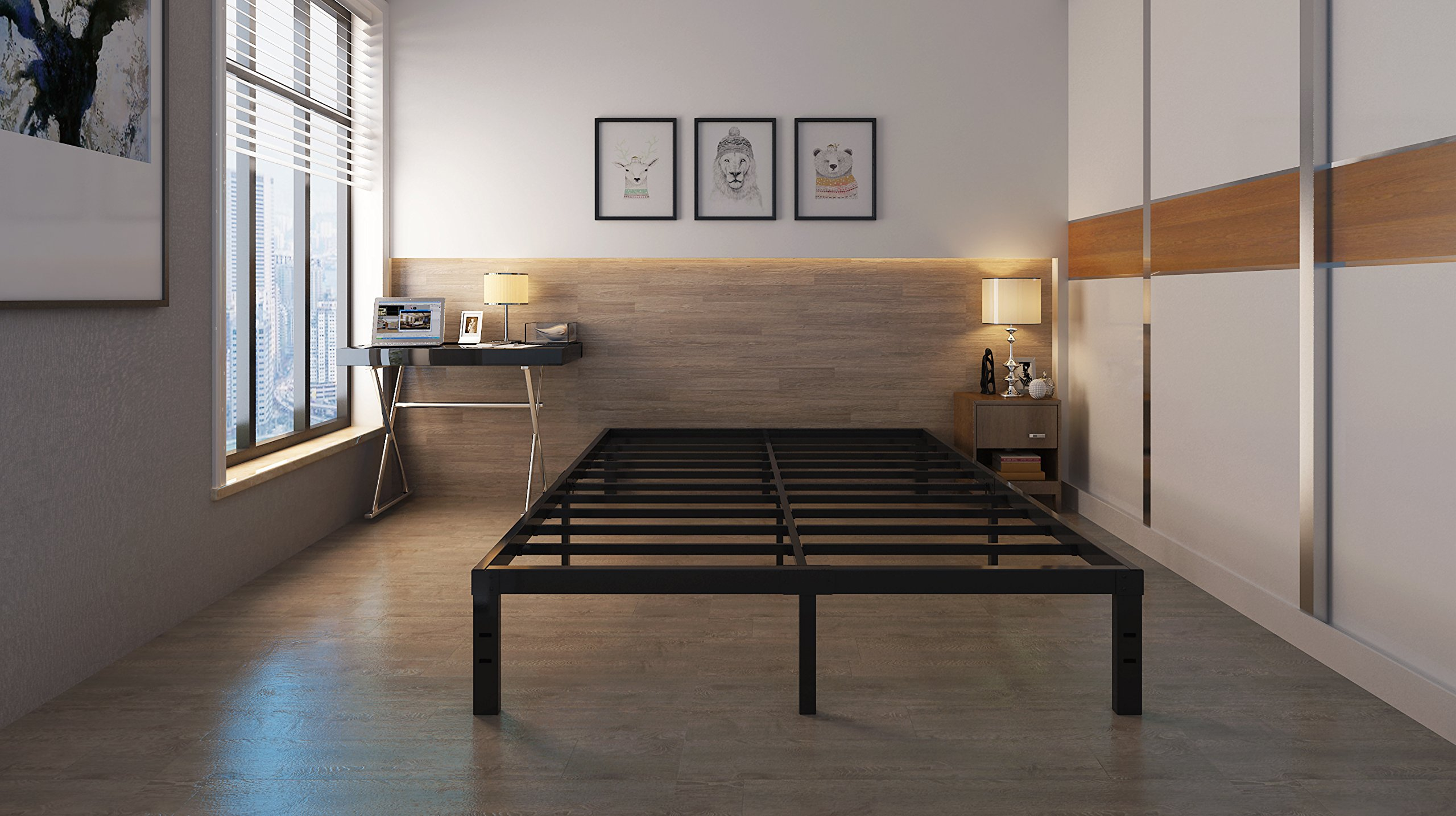 14 Inches Steel Slat Platform Bed Frame / Heavy Duty and Easy Assembly Mattress Foundation / Noise-Free Box Spring Replacement Full by Homus (Image #5)
