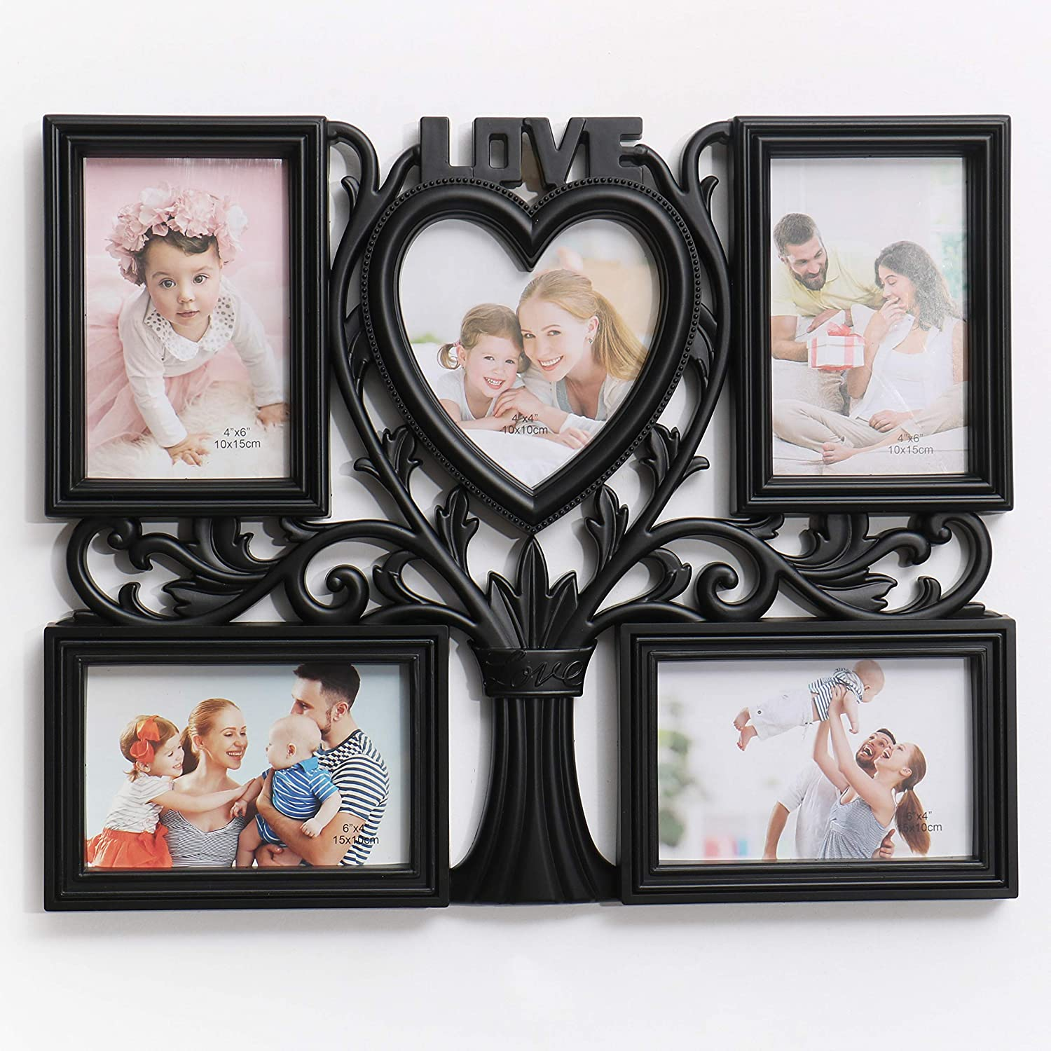 Super Holiday 4x6 Picture Frames (5 Pack), Contemporary Frame Set Wall Mount or Table Top Prosperity Collection(Black)