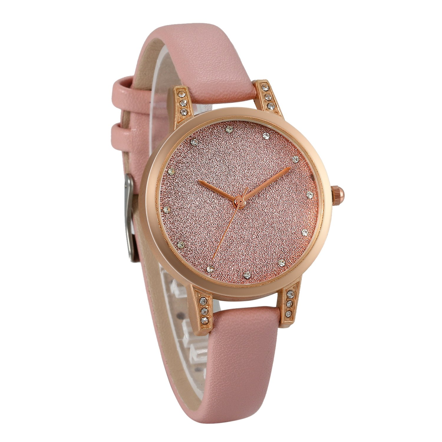 JewelryWe Men Women Watches Luxury Simple Shinny Starry Sky Watch Leather Wristwatch Quartz Bracelet Watch
