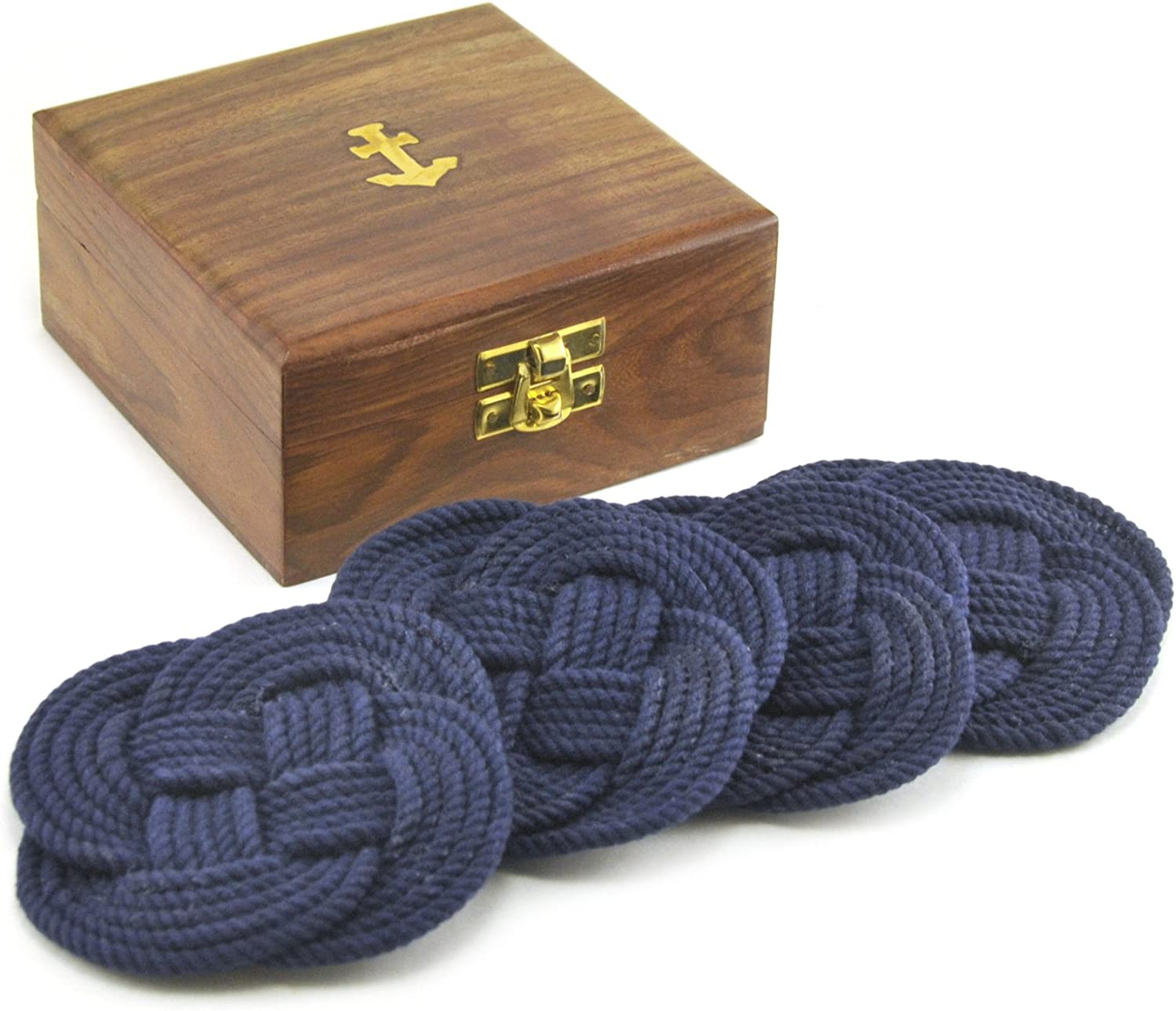 Sailor's Rope Coaster Set, Nautical Anchor Cherry Wood Box Holder, 4.75-inch, Navy Blue by Home Collection