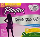 Playtex Gentle Glide Tampons with Triple Layer Protection, Regular and Super  Multi-Pack, Unscented - 50 Count