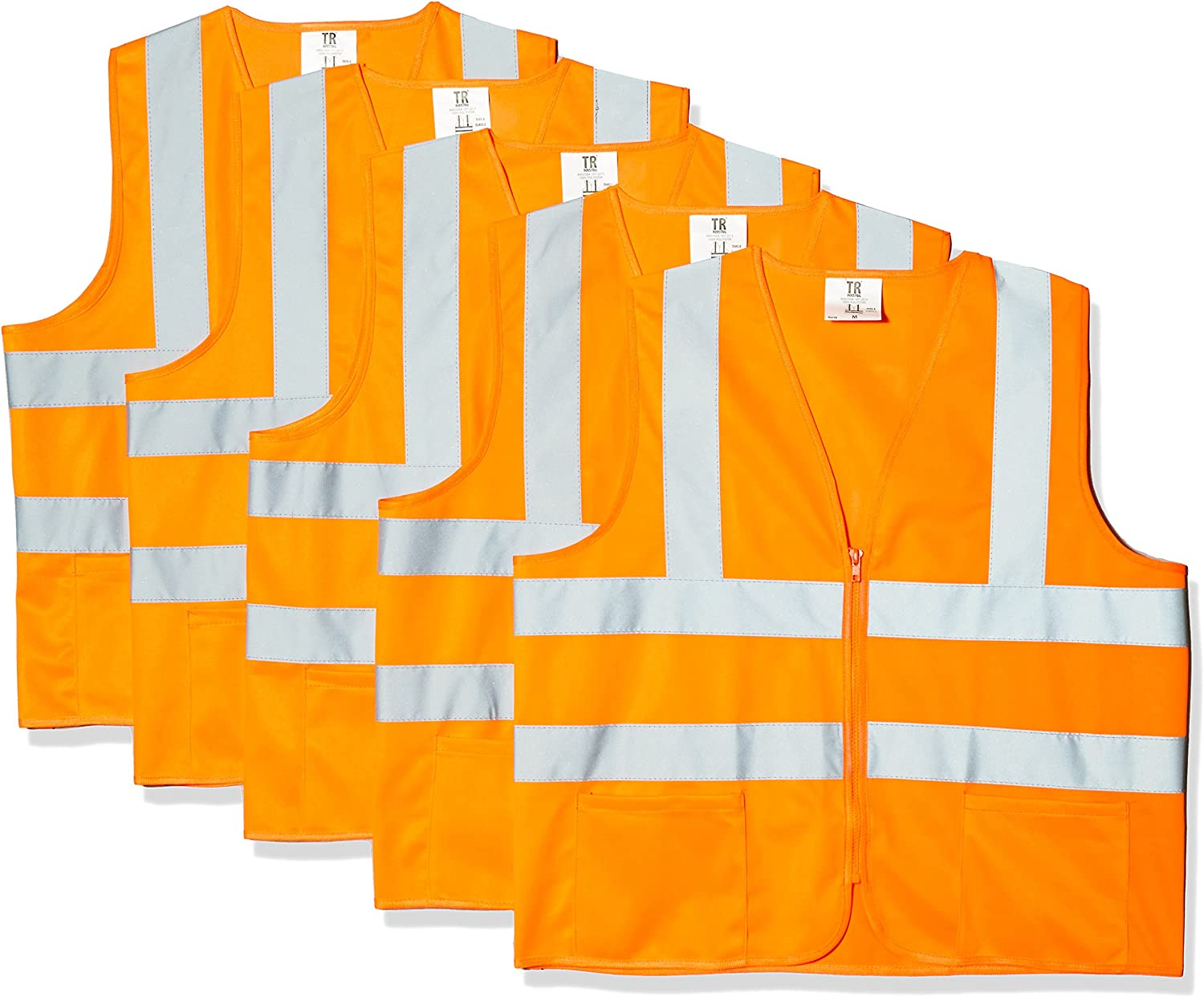 TR Industrial Orange Safety Vest X-Large 2 Pockets Knitted 5 Pack
