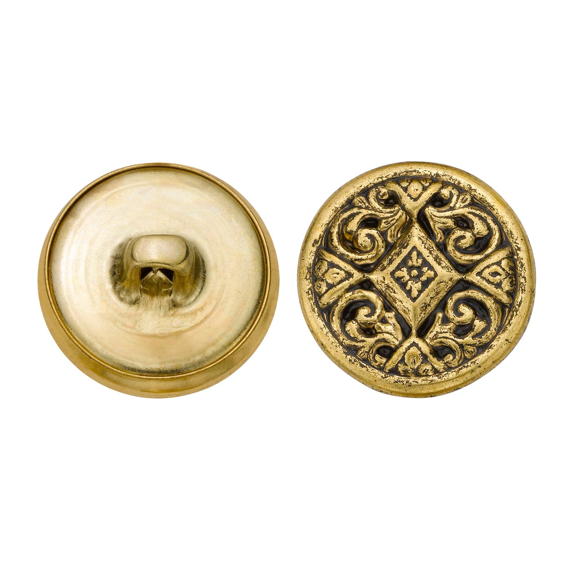 C&C Metal Products 5349 Filigree Metal Button, Size 30 Ligne, Antique Gold, 36-Pack