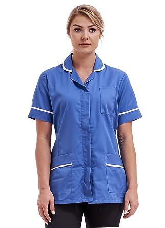 3f2f976ab2058 Ladies Round Collar Tunic (12, Hospital Blue/White Trim): Amazon.co.uk:  Clothing