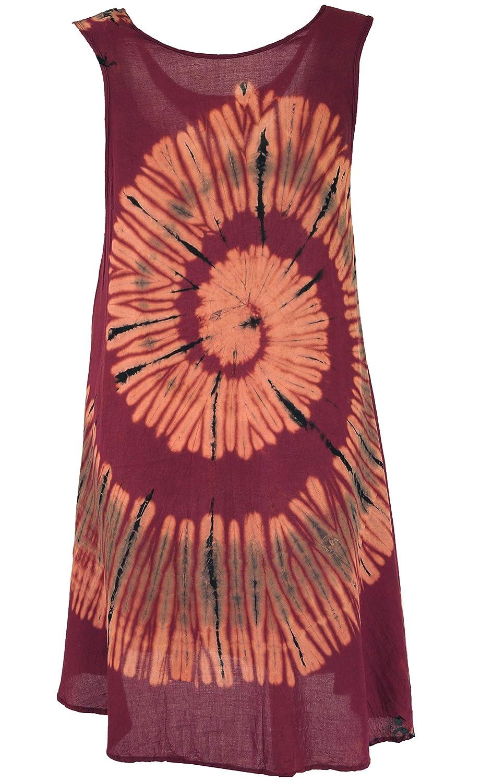 Sommerkleid Hippie chic Batik Tunika Strandkleid bordeaux