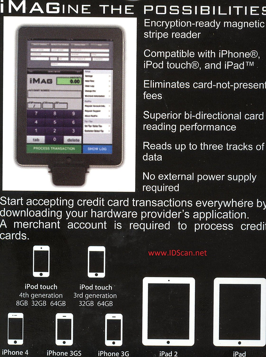 iMag Pro 2 Connector for iOS Iphone, Ipad, Ipod Touch Magstripe Reader - IDMR-AL30133 by IDTech