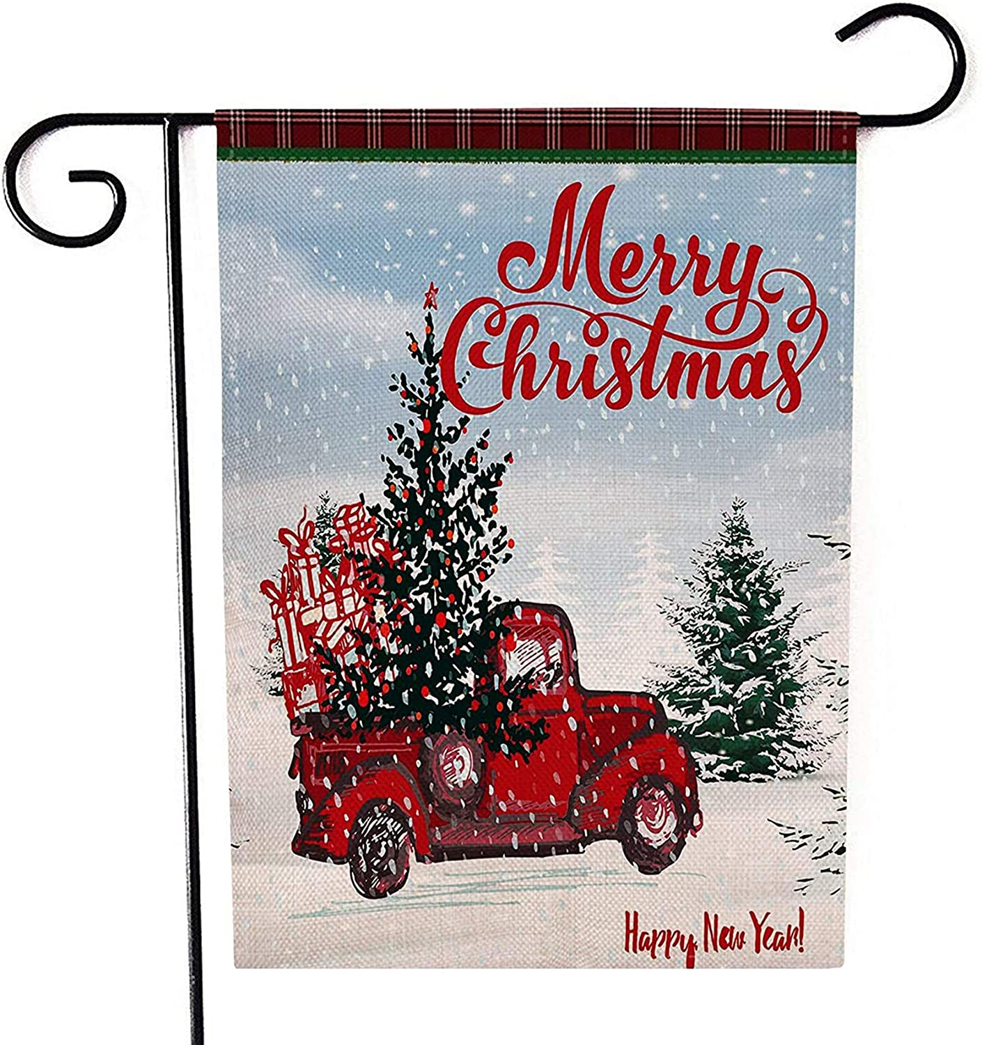 """CHICHIC Christmas Garden Flag Winter Flag Red Truck Christmas Decorations Xmas Burlap House Yard Lawn Flag Holiday Vertical for Outside Christmas Outdoor Decorations Seasonal Home Decor, 12.5"""" x 18.5"""""""