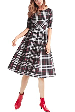 95d89ab71c770 Women's Vintage Elegant Plaid Backless Puffy Swing Party Midi Dress