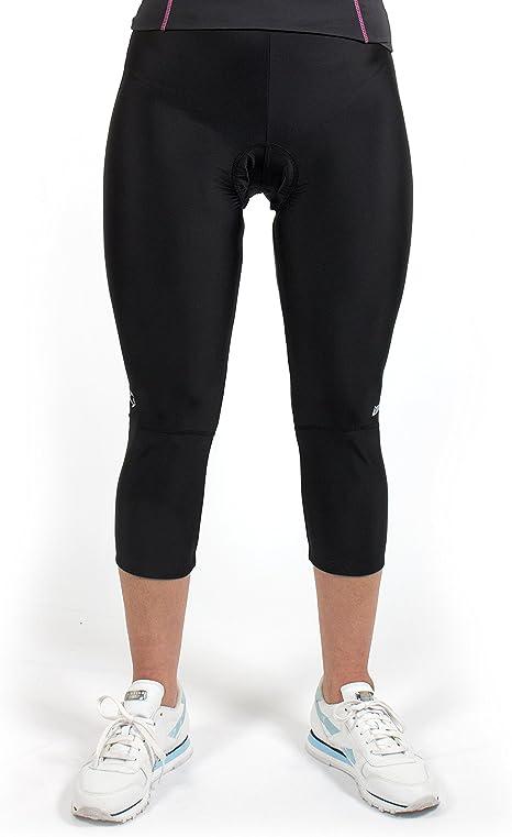 bis Gr/ö/ße XL Radlerhose Damen in lang Gregster Damen Fahrradhose 3//4 Sporthose in schwarz dreiviertel Hose f/ürs Fahrrad gepolstert Radsport
