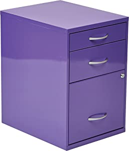 OSP Home Furnishings 3-Drawer Metal File Cabinet, Purple Finish