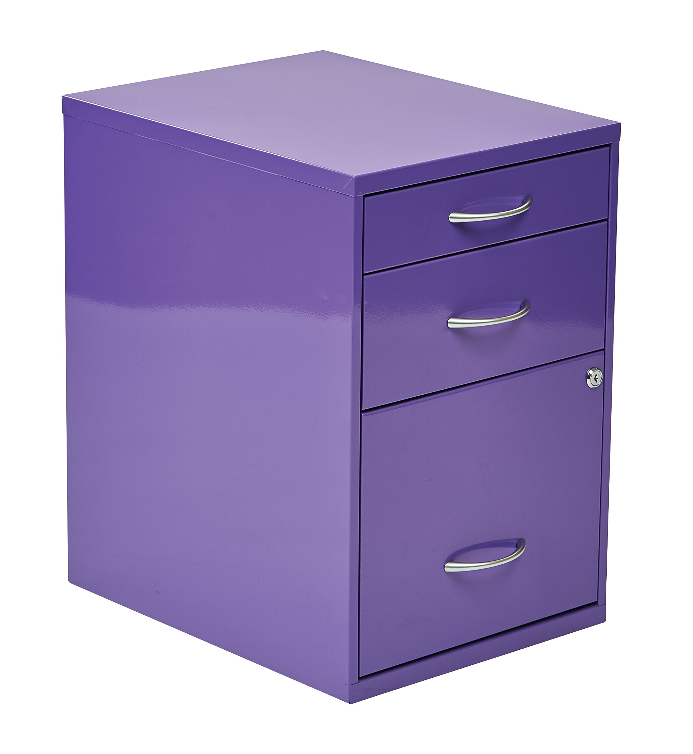 Office Star 3-Drawer Metal File Cabinet, Purple Finish