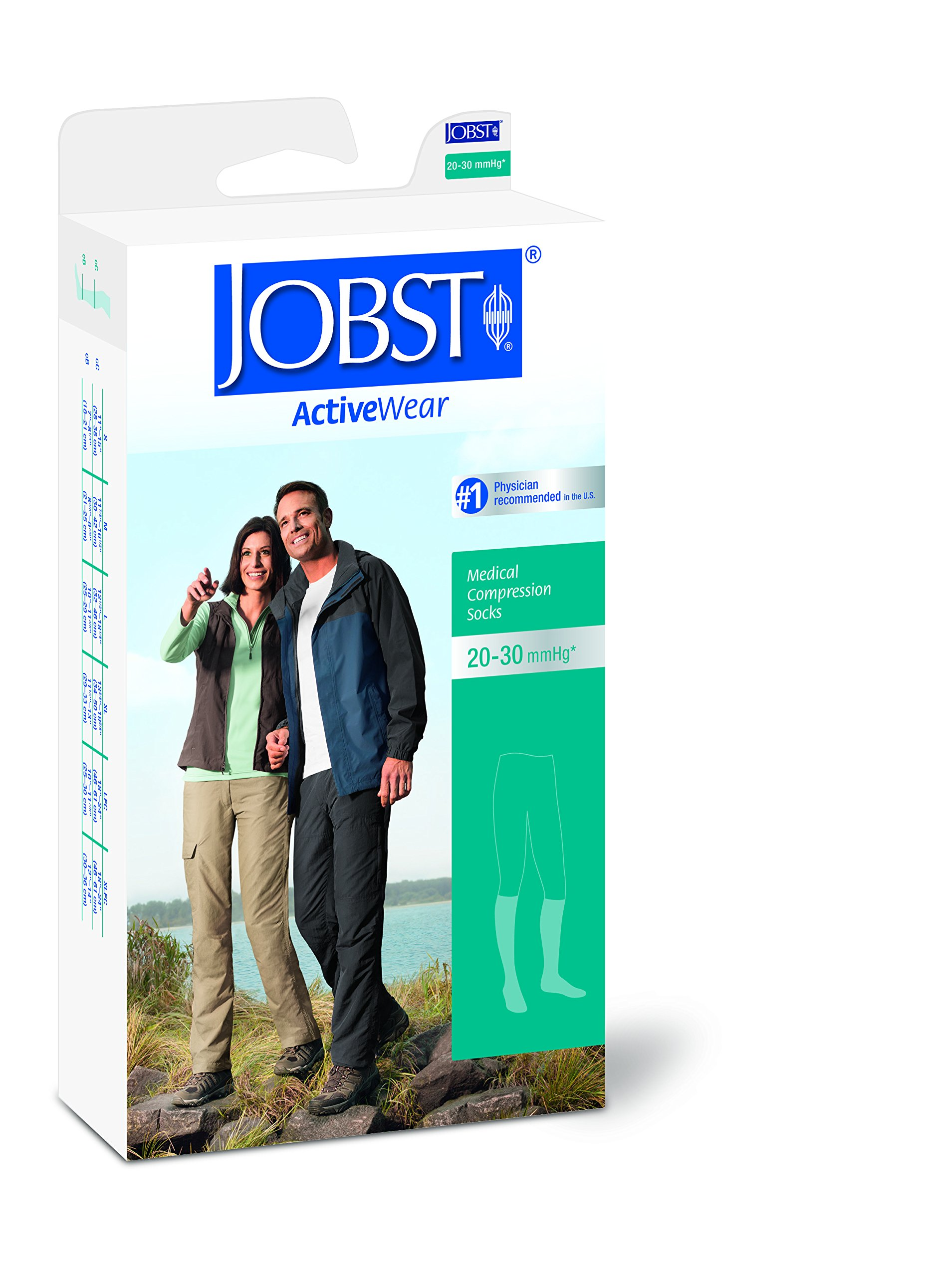 JOBST Activewear 20-30 mmHg Knee High Compression Socks, Large, Cool White by JOBST (Image #6)