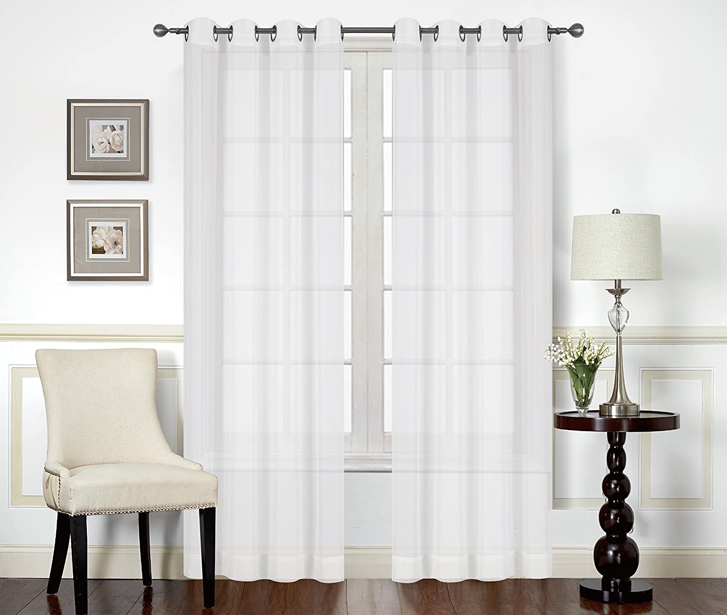 Premium White Sheer Curtains Sheer Voile White Luxurious High Thread Window Grommet Curtains