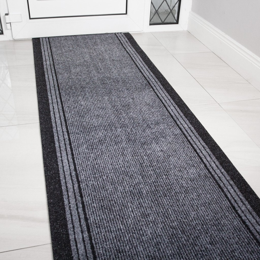 eXtreme Grey Rubber Backed Very Long Hallway Hall Runner Narrow Rugs Custom Length - Sold and Priced Per Foot (Length: 1' (30cm)) eXtreme®