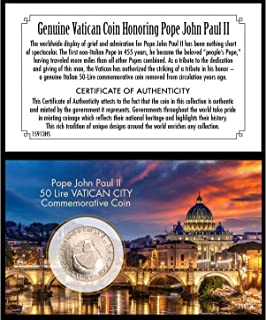 product image for Pope John Paul II Coin | Genuine 50 Lire Commemorative Coin | Vatican City | Certificate of Authenticity – American Coin Treasures